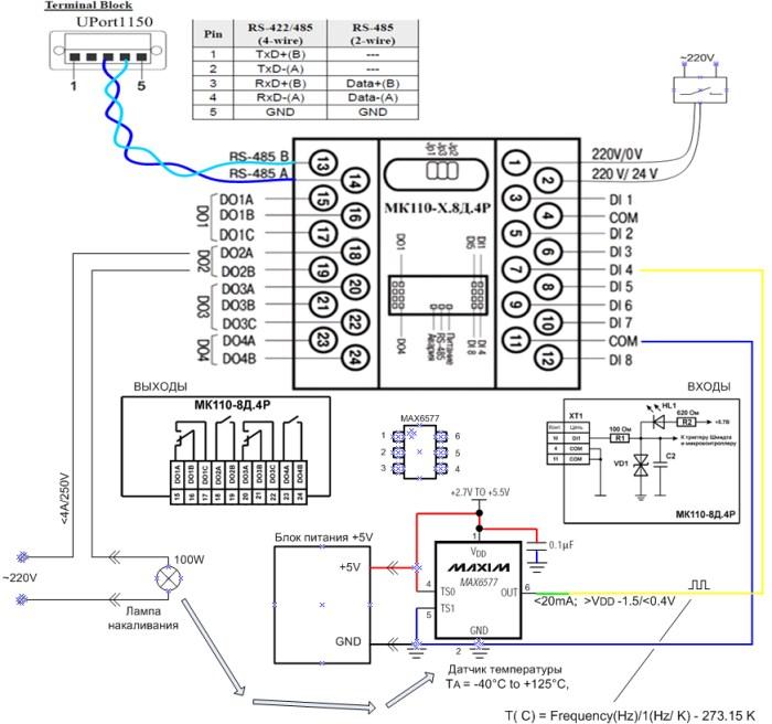 Схема moxa uport 1150